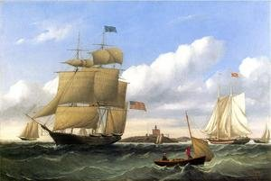 Famous Paintings Of Lighthouses The Whaleship Emma C Jones Off Round Hills