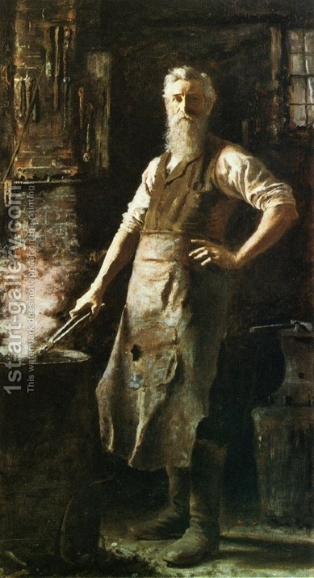 The Village Blacksmith by Thomas Hovenden - Reproduction Oil Painting