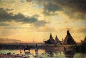 Famous paintings of Clouds & Skyscapes: View of Chimney Rock, Ogalillalh Sioux Village in Foreground