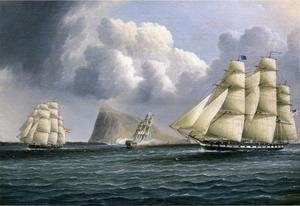 Famous paintings of Clouds & Skyscapes: American Frigate off Gibralter Flying a Commodore's Pennant