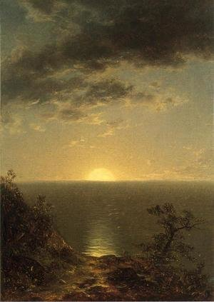 Reproduction oil paintings - John William Casilear - Moonrise on the Coast