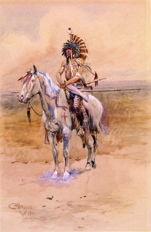 Famous paintings of Horses & Horse Riding: Mandan Warrior