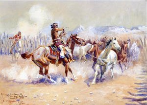 Famous paintings of Horses & Horse Riding: Navajo Wild Horse Hunters