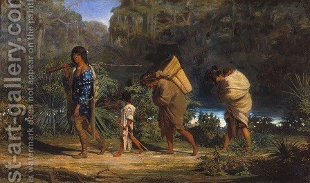Louisiana Indians Walking along a Bayou by Alfred Boisseau - Reproduction Oil Painting