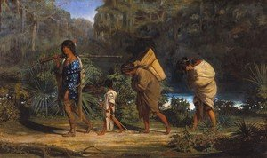 Famous paintings of Indians: Louisiana Indians Walking along a Bayou