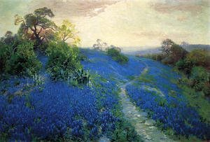 Famous paintings of Clouds & Skyscapes: Bluebonnet Field
