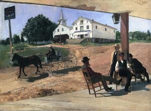Famous paintings of Horses & Horse Riding: Ella's Hotel, Richfield Center
