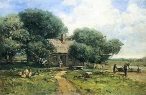 Reproduction oil paintings - Andrew Melrose - A Farm Along the River
