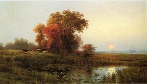Famous paintings of Fireworks: Sunset on the Marsh