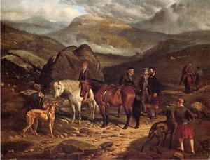 Famous paintings of Horses & Horse Riding: Hunting on the Scottish Highlands