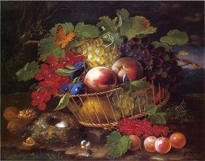 Famous paintings of Butterflies: Still Life with Fruit, Butterflies and Bird's Nest