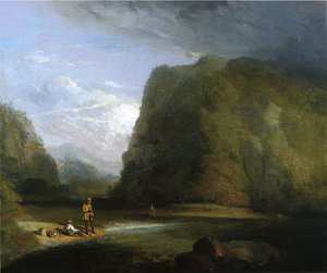 Famous paintings of Clouds & Skyscapes: Trout Fishing in Sullivan County
