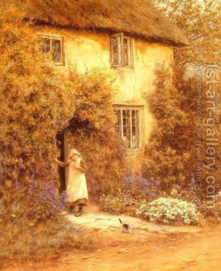 A Cottage Door by Helen Mary Elizabeth Allingham, R.W.S. - Reproduction Oil Painting