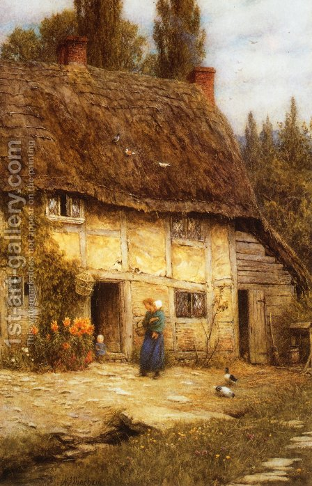 Surrey Farmhouse by Helen Mary Elizabeth Allingham, R.W.S. - Reproduction Oil Painting