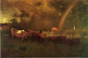 Reproduction oil paintings - George Inness - Shower on the Deleware River