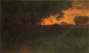 Reproduction oil paintings - George Inness - Sunset Landscape
