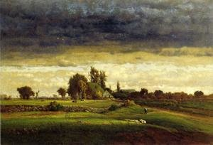 Reproduction oil paintings - George Inness - Landscape with Farmhouse