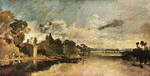 Famous paintings of Clouds & Skyscapes: The Thames near Walton Bridges