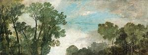 Reproduction oil paintings - Turner - Tree Tops and Sky, Guildford Castle (?), Evening