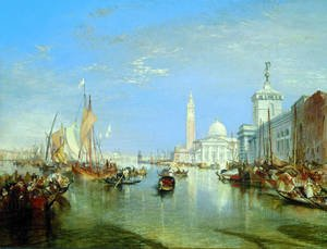 Famous paintings of Ships & Boats: Venice: The Dogana and San Giorgio Maggiore