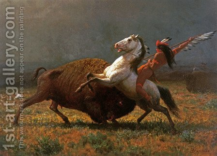 The Last of the Buffalo II by Albert Bierstadt - Reproduction Oil Painting