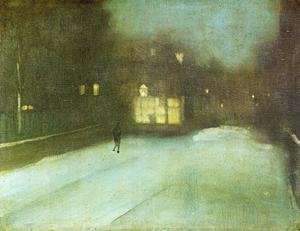 Reproduction oil paintings - James Abbott McNeill Whistler - Nocturne: Grey and Gold - Chelsea Snow