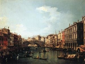 Famous paintings of Ships & Boats: Rialto Bridge from the South