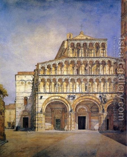 The Facade of the Duomo at Lucca by Henry Roderick Newman - Reproduction Oil Painting