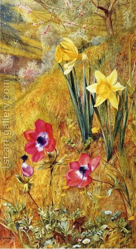 Anemones and Daffodils by Henry Roderick Newman - Reproduction Oil Painting