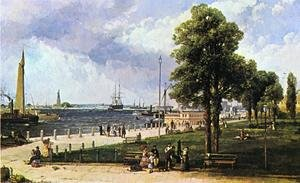 Reproduction oil paintings - Andrew Melrose - New York Harbor and Battery