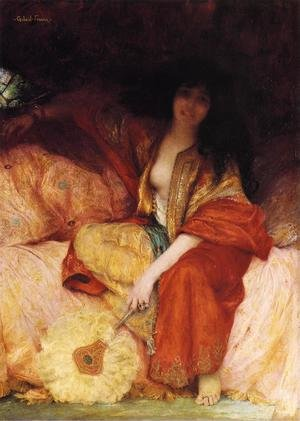 Famous paintings of Fans: A Harem Beauty Holding a Fan