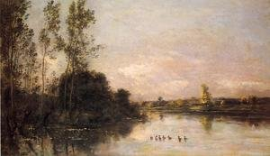 Reproduction oil paintings - Charles-Francois Daubigny - Ducklings in a River Landscape