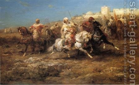Arab Horsemen by Adolf Schreyer - Reproduction Oil Painting