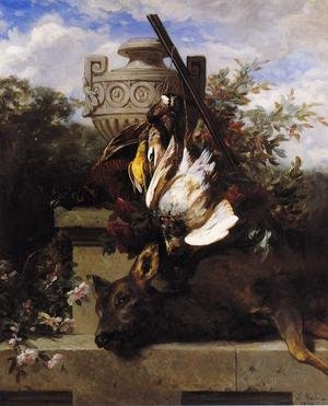 Still Life with Game and a Rifle on a Marble Ledge with an Urn in a Flowery Landscape