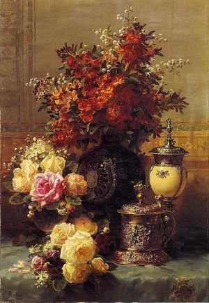 Still Life of Roses and Other Flowers, a Silver-gilt Ostrich Egg Cup and a German Gold-gilt Tankard on a Draped Table in an Interior