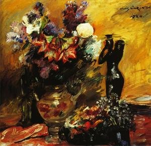 Famous paintings of Vases: Cala lilies andn Lilacs with a Bronze Figurine