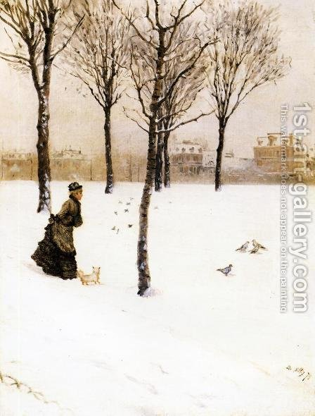 A Winter's Landscape by Giuseppe de Nittis - Reproduction Oil Painting