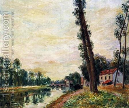 The Banks of the Loing by Alfred Sisley - Reproduction Oil Painting