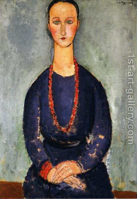 Woman in a Red Necklace by Amedeo Modigliani - Reproduction Oil Painting