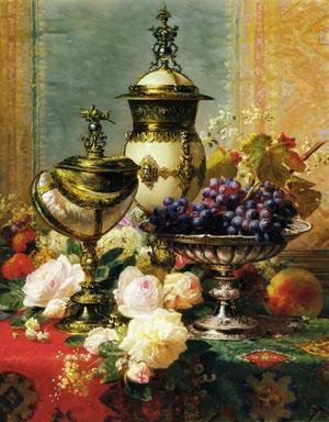 A Still Life with Roses, Grapes and A Silver Inlaid Nautilus Shell