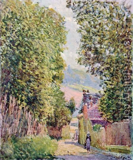 Street in Louveciennes, Sunlight by Alfred Sisley - Reproduction Oil Painting