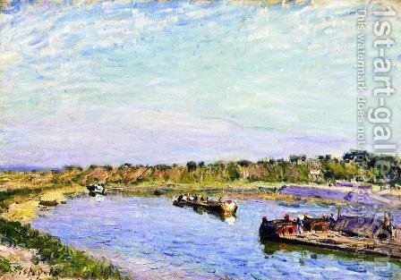 The Port of Saint Mammes, Morning by Alfred Sisley - Reproduction Oil Painting
