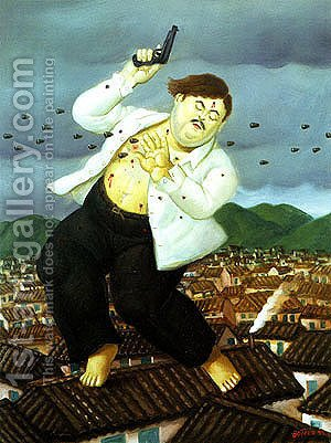 Death of Pablo Escobar by Fernando Botero - Reproduction Oil Painting