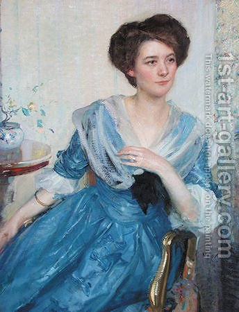 Richard Emil Miller: Woman in Blue Dress - reproduction oil painting