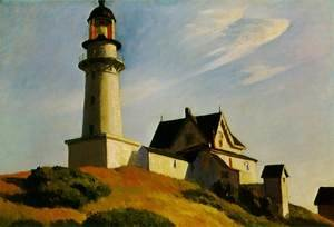 Famous paintings of Clouds & Skyscapes: Lighthouse at Two Lights