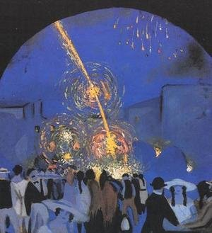Famous paintings of Fireworks: Fiesta in Figueres