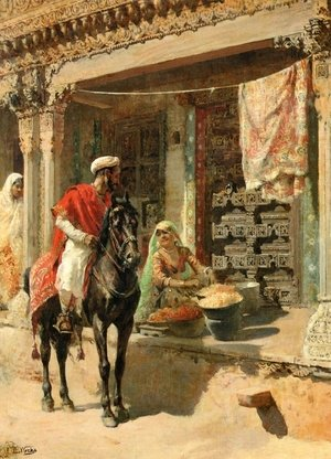 Famous paintings of Horses & Horse Riding: Street Vendor, Ahmedabad