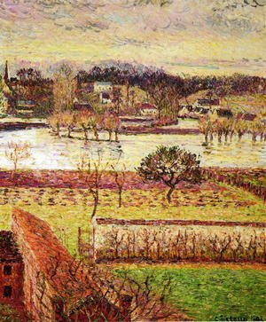 Famous paintings of Flood & High Tide: Flood, Twilight Effect, Eragny