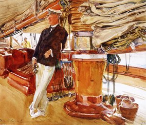 Famous paintings of Ships & Boats: On the Deck of the Yacht Constellation