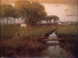 Reproduction oil paintings - George Inness - Early Moonrise, Tarpon Springs